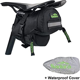 Sadora Bicycle Saddle Bag - Mid Size, Integrated Water Proof/Reflective Seat Cover, Buckle Strap...