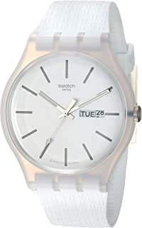 Swatch Unisex-Adult Quartz Watch, Analog Display and Silicone Strap - SUOW710