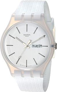 Swatch 1907 BAU Quartz Silicone Strap, White, 20 Casual Watch (Model: SUOW710)