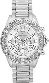 Giorgio Milano Women's Watch 'Paulina' Round case. Dial with Roman Numbers, 3 Eyes and Date. Stainless Steel Bracelet with Swarovski Crystals on The case