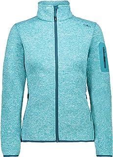 CMP Women's Fleece Melange Jacket KnitTech, Baltic Mel-DEEP Lake, 16