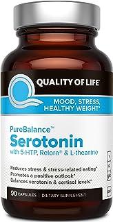 Quality of Life Pure Balance Serotonin Premium 5-HTP & Stress Supplement–Helps Boost Serotonin & Cortisol Levels–Mood & Sleep–Includes Relora, Rhodiola, Vitamin D3 & L-Theanine–90 Capsules