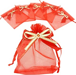 LanTian Organza Bags, 50 Pcs Gift Bags Organza Drawstring Pouch for Jewelry Birthday Wedding Party Favors Gift Candy Christmas Thanksgiving Halloween (Red, 4x6)