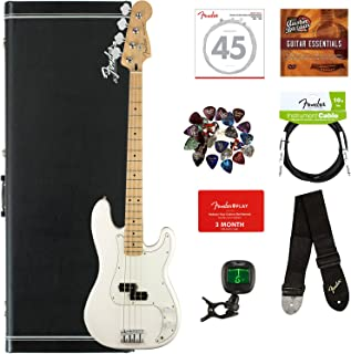 $769 Get Fender Player Precision Bass, Maple - Polar White Bundle with Hard Case, Cable, Tuner, Strap, Strings, Picks, Fender Play Online Lessons, and Austin Bazaar Instructional DVD