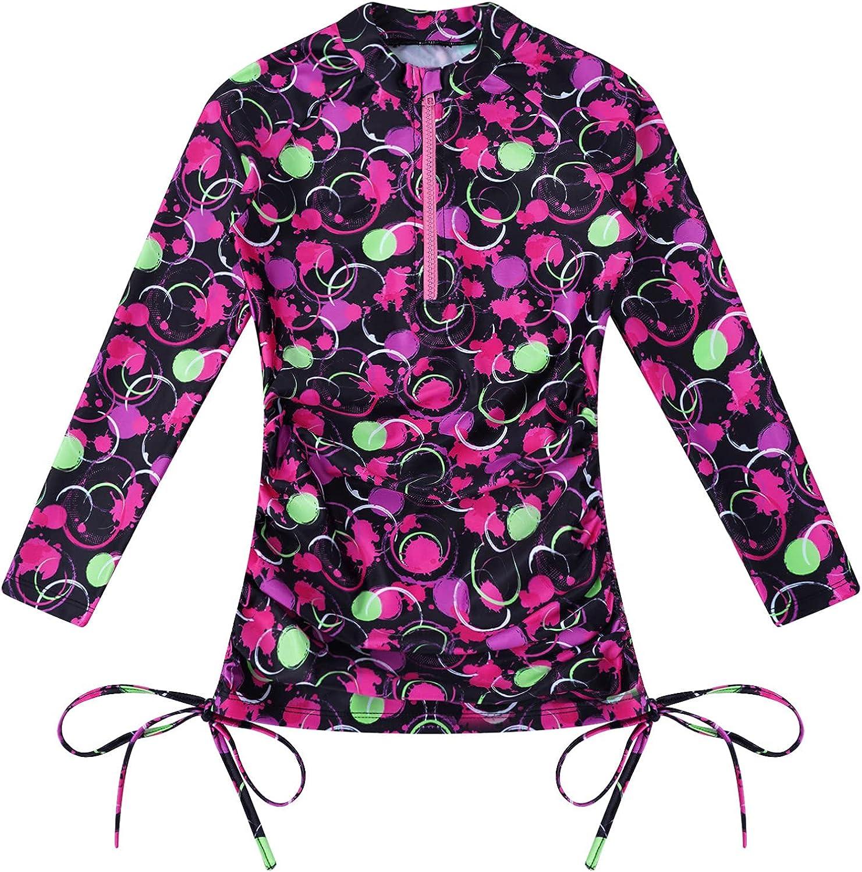 zdhoor Kids Girls Rash Guard Swim Shirt Long Sleeve Swimsuit UV Protection UPF 50+ Zipper Front T-Shirt