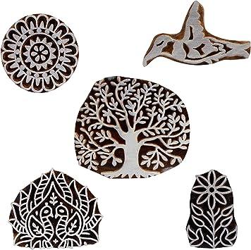 Set of 5 Floral Spiral Motif Wooden Printing Blocks Henna Tattoo Print Block Scrapbook Indian Stamps