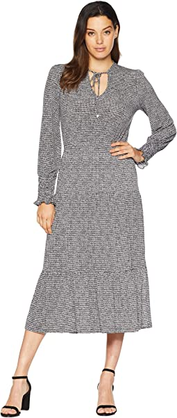 Check Long Sleeve Tie Neck Dress