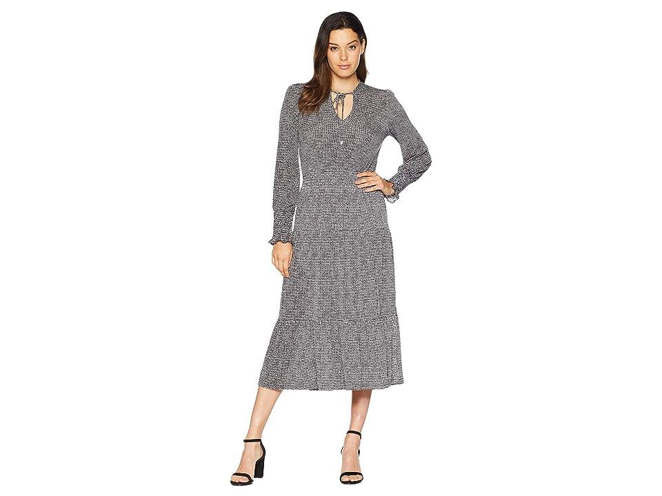 MICHAEL Michael Kors Check Long Sleeve Tie Neck Dress (Black/White) Women