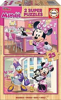 Educa- Disney Mickey Top Départ Minnie & The Happy Helpers 2 Puzzles de 25 pièces, 17625