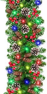 9 Foot by 10 Inch Christmas Garland Decorations with 100 Colorful Lights Spruce Garland with Silver Bristle 15 Pine Cone 75 Red Berries Outdoor Indoor Garland with Lights Battery Operated