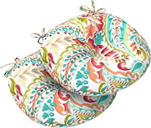 """LVTXIII Outdoor All Weather Bistro Seat Cushions, Comfortable Fluffy Tufted Patio Chair Cushions Round 17""""x17""""x5"""" Set of 2 for Home Garden Furniture, Pretty Paisley"""