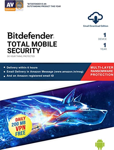 Bitdefender - 1 Device,1 Year - Mobile Security | Android| Latest Version | Email Delivery in 2 Hours- No CD | 1