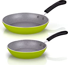 "Cook N Home Professional Marble Fry Pan nonstick, 8"" and 10"" set, Green"