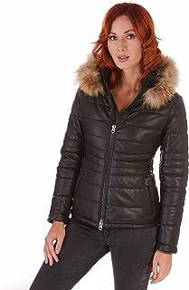 Piumino in pelle nera con cappuccio Donna con cintura Made in Italy