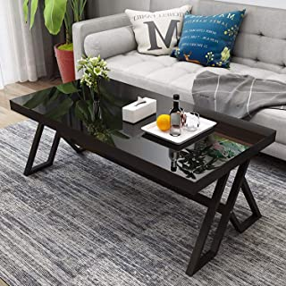 Jerry & Maggie - Tempered Glass Tea Table Coffee Table Desk Cocktail Table - Modern Steel Triangular Legs Living Room Desk Decor - Anti Scratch Polished Surface Family Size Dinning Table | Black