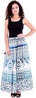 Handicraft-Palace Blue Ombre Mandala Printed Cotton Long Women's Skirt