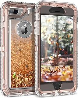 iPhone 8 Plus Case, iPhone 7 Plus Case, Dexnor Glitter 3D Bling Flowing Liquid Case 3 in 1 Shockproof TPU Silicone + PC Protective Defender Cover for iPhone 8 Plus/7 Plus/6S Plus/6 Plus - Light Brown