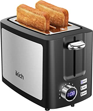IKICH Toaster 2 Slice 9 Settings, LCD Screen Stainless Steel, Wide Slot, Cancel/Bagel/Defrost/Reheat Function, Removal Crumb