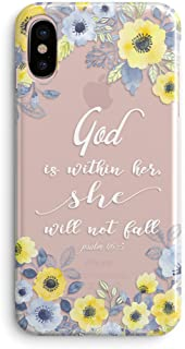 iPhone Xs Max Case,Girls Flowers Florals Blooms Roses Girls Christian God is Within Her She Will Not Fall Psalm Bible Verses Quotes Inspirational Daisy Soft Clear Case Compatible for iPhone Xs Max
