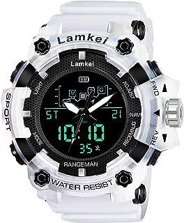 Lamkei LAM-1277 Black Dial White Transparent Silicone Strap Analogue Digital Multifunction Watch for Men