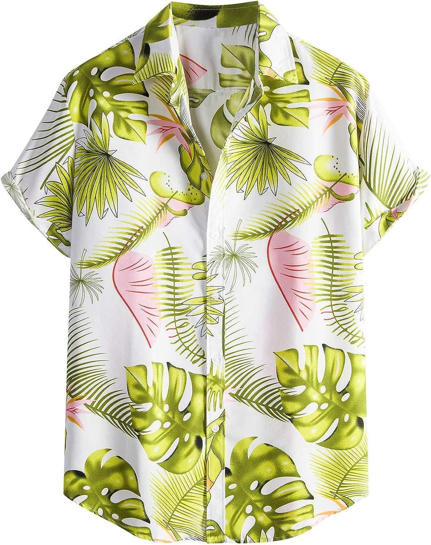 Mens Hawaiian Shirts Button Down Short Sleeve Beach Shirts Summer Casual Loose Aloha Shirts