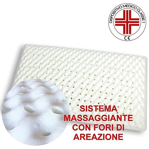 VENIXSOFT Oreiller en mousse visco-élastique (Memory Foam) avec taie en 100% coton, respirant, massage, orthopédique - Stop aux Douleurs Cervicales - Dispositif médical Classe l, déduction du 19% - fabriqué en Italie