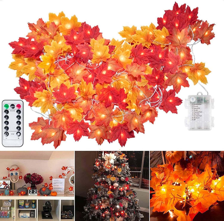 Thanksgiving Fall Maple Leaf String Lights Feet 20 40 Las Vegas Mall Year-end gift Length L