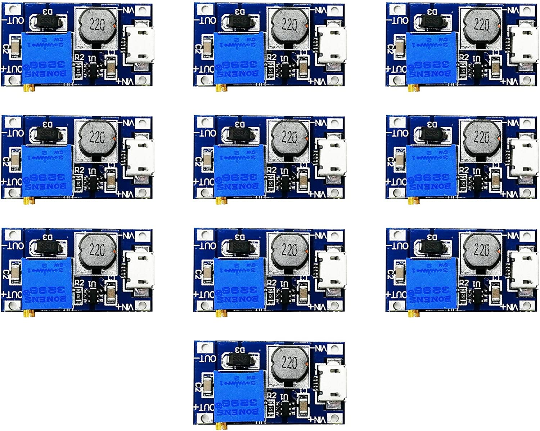 SHANZ MT3608 Boost Converter 2V-24V to 5V-28V 2A MT3608 Mico USB Regulator Voltage Converter (10PCS)