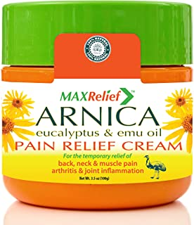 MaxRelief Arnica Montana Pain Cream - For Sufferers of Knee, Joint & Outback Muscle Pain. Reduce Arthritis & Joint Inflammation. Plantar Fasciitis & Fibromyalgia Relief + Emu Oil 3.5 oz
