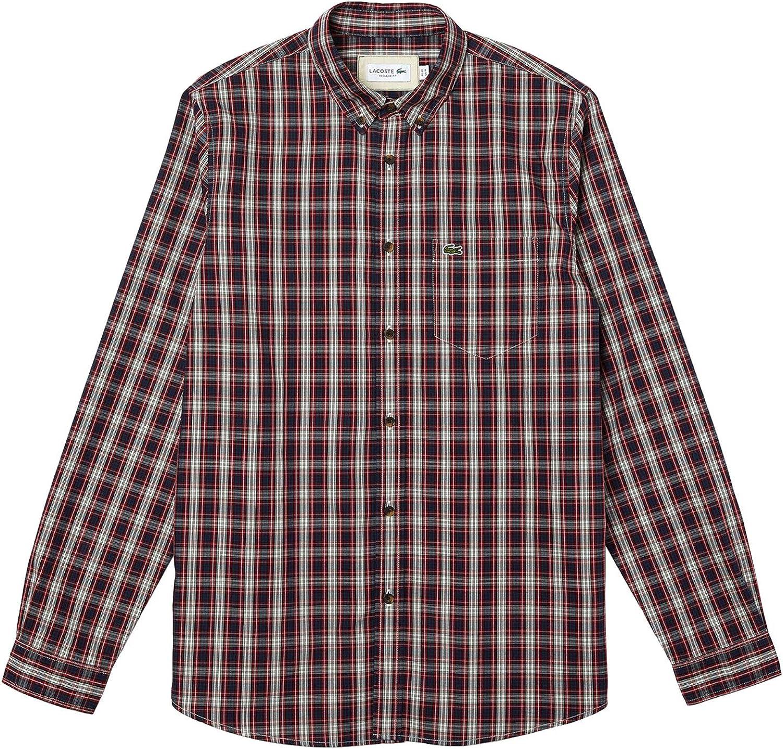 Lacoste Camisa Regular fit en algodón Oxford de Cuadros ...