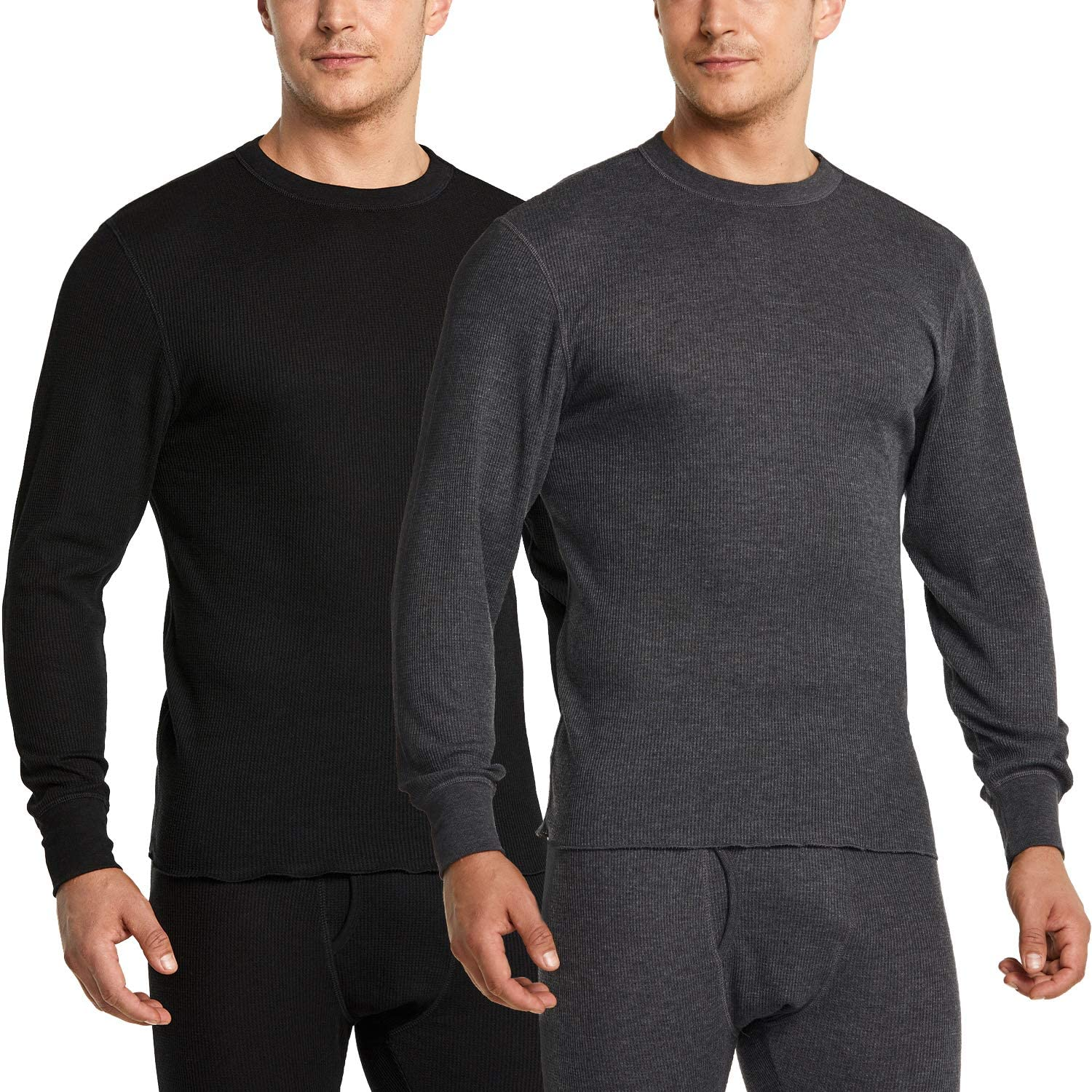 CQR 1 or 2 Pack Men's Long Sleeve Thermal Underwear Tops, Midweight Waffle Crewneck Shirt, Winter Cold Weather Thermal Shirts