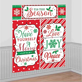 """amscan """"Have Yourself a Merry Little Christmas"""" Lightweight Vinyl Scene Setter Set, 5 Ct. 
