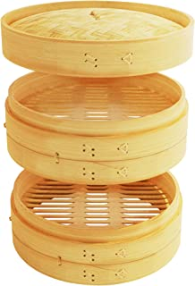 10 Inch Natural Bamboo Dumpling Steamer 2 Tiers Basket with Lid – Perfect for Asian Kitchen Cooking