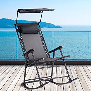 Black Relaxing Living Rhythm Lounge Iron Body Weather-Resistant Cloth with Pillow Umbrella Shade Pool Terrace Outside Rocker Sturdy Comfortable Living Folding Portable Zero Gravity Rocking Chair