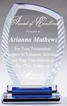 NWA Beautiful Crystal Award, Achievement, Wedding, Graduation Plaque, Blue Crystal Award, Police, Corporate, Firefighters Awards
