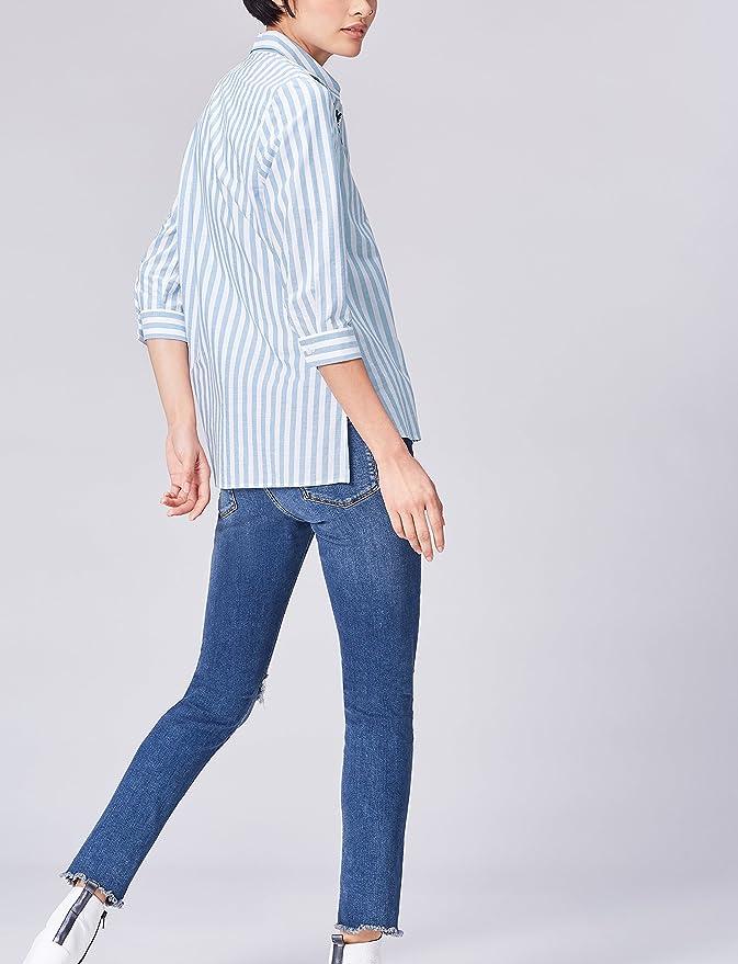 find. Camisa de Rayas con Bordado para Mujer , Azul (Blue ...