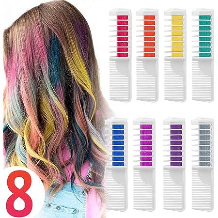 Peines de Tiza de Colores para el Pelo 10 colores temporales ...