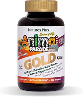 Nature's Plus, Source of Life Animal Parade Gold, Children's Chewable Multi-Vitamin & Mineral Supplement, Natural Assorted...