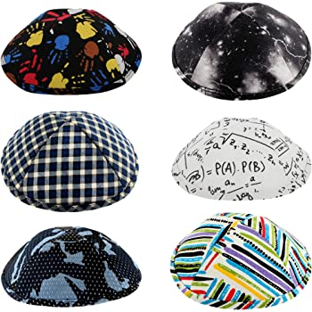 Yamaka Hat from Israel Mix Colors Kippah for Boys and Kids Pack of 6-Pcs Smaller Size Set 9 Ultra Swid Fabric Hq 15cm Flat Design Kippot Bulk