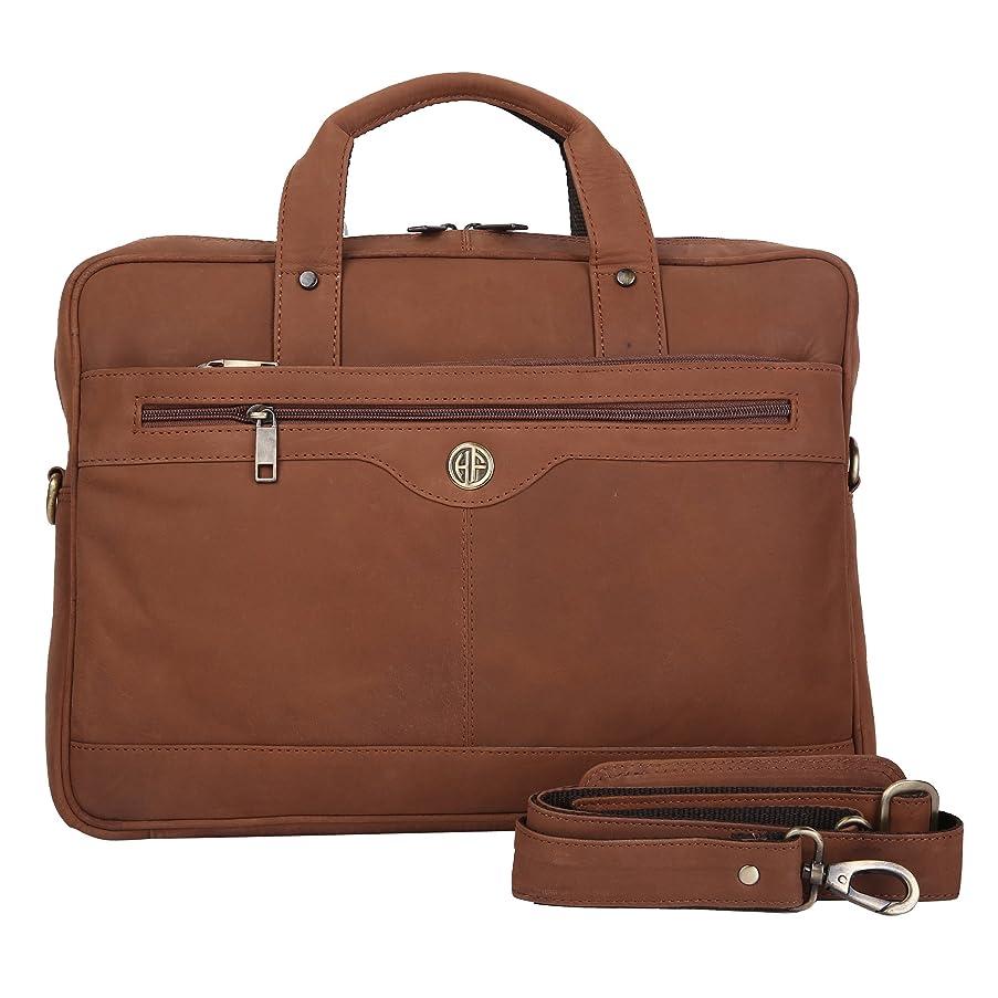 HAMMONDS FLYCATCHER Handmade Briefcase Top Grain Vintage Leather Laptop Bag Messenger Shoulder Bag for Business Office 15.6 inch Laptop HF-Coffee Brown