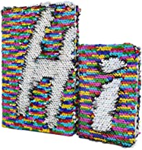 2 Pack VIPbuy Magic Reversible Sequin Journal Diary Wide Ruled & Blank Notebooks Gift for Kids Adults, Size A5 + A6, Rainbow to Silver