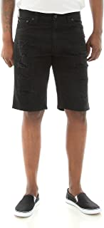 Southpole Men's Short Twill Short with Multiple Horizontal Rips and Cuffing