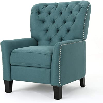 Christopher Knight Home Cerelia Tufted Fabric Recliner, Dark Teal / Dark Brown