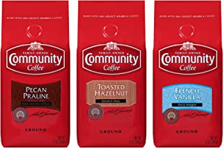 Community Coffee Flavored Variety Pack Medium Roast Premium Ground 12 Oz Bag (3 Pack), Medium Full Body Rich Smooth Taste, 100% Select Arabica Coffee Beans