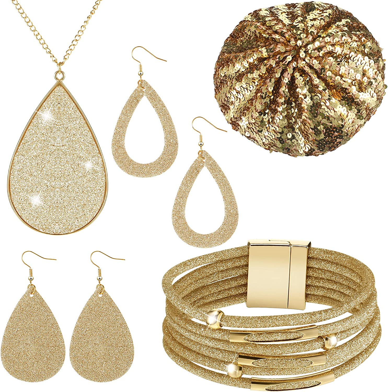 Glitter Sequin Jewelry Set, Include Faux Leather Necklace Bridal Wedding Multi-Layer Bracelet Shiny Sequin Beret with 2 Pairs Exquisite Dangle Earrings for Women