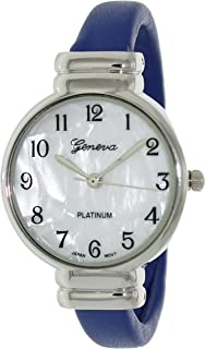 Geneva Platinum Women's 7232.Navy Mother-of-Pearl Polyurethane Quartz Watch