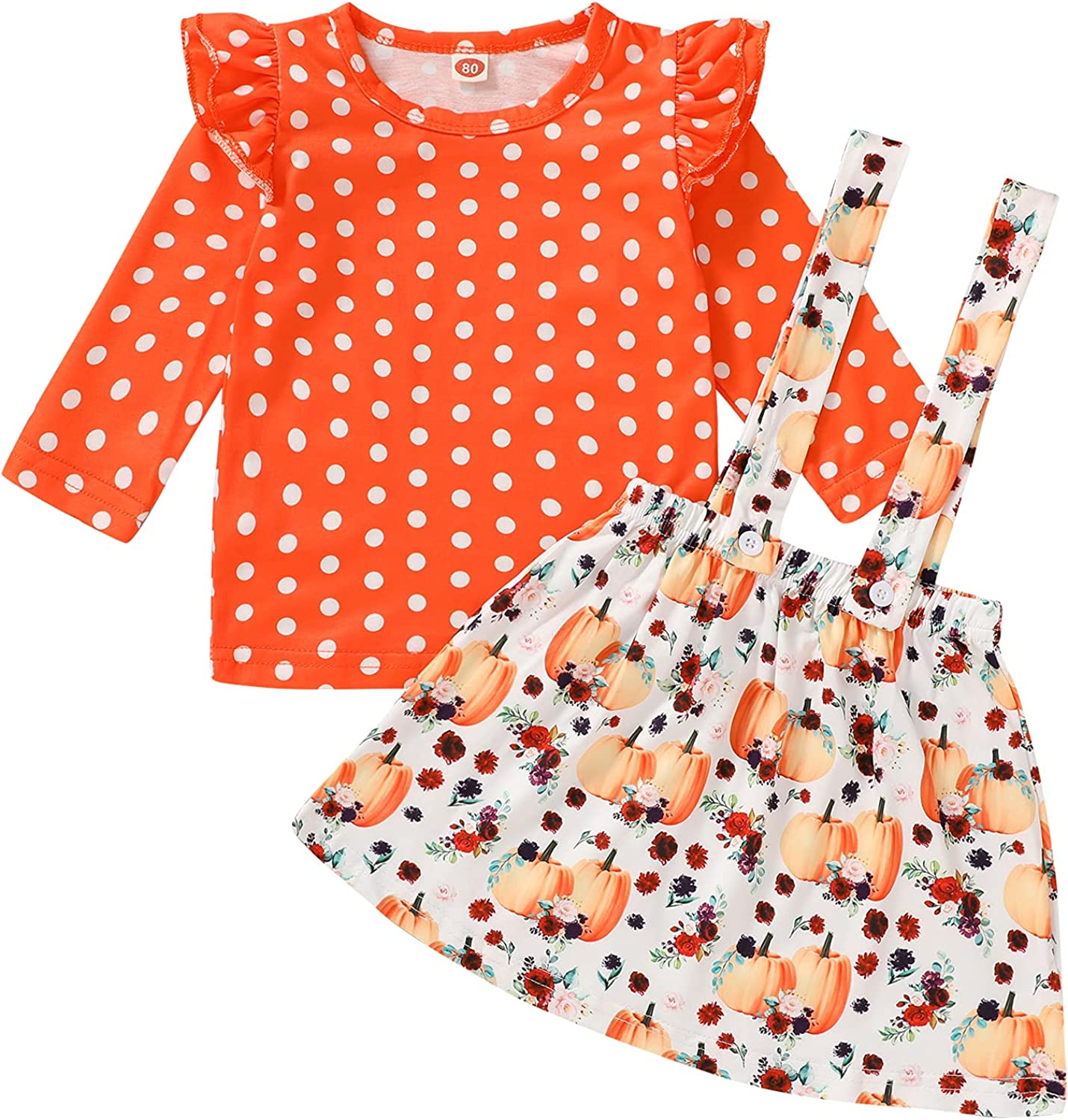 Halloween Outfits Toddler Baby Girl Skirts Sets Ruffle Wave Point Top + Pumpkin Overalls Suspender Dress Fall Clothes 1-5T