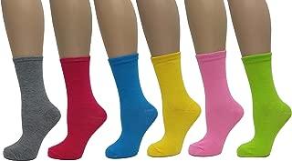 Women's 6 Pack Solid Color Crew Cut Socks