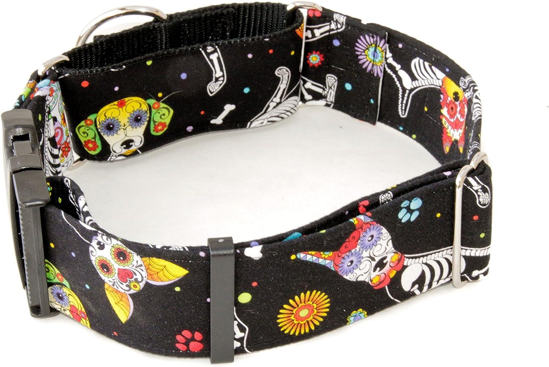 Caninus Collars Day of The Dog  Dog Collar  1.5  & 2  Width Collars  Buckle & Martingale (Martingale w Buckle Collar, XXL  2  Width)