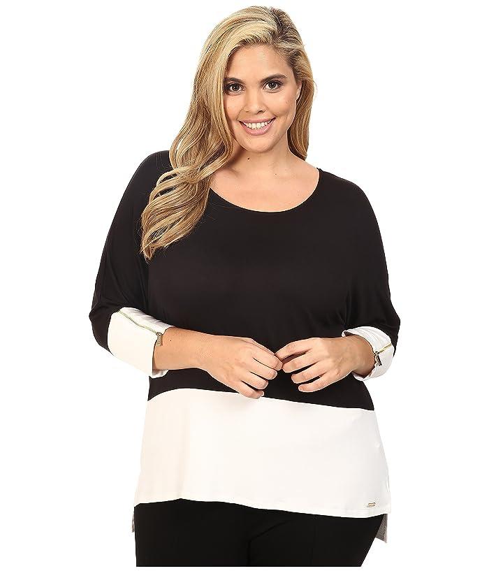 Plus Size 3/4 Sleeve Dolman Top (Black) Women's Long Sleeve Pullover